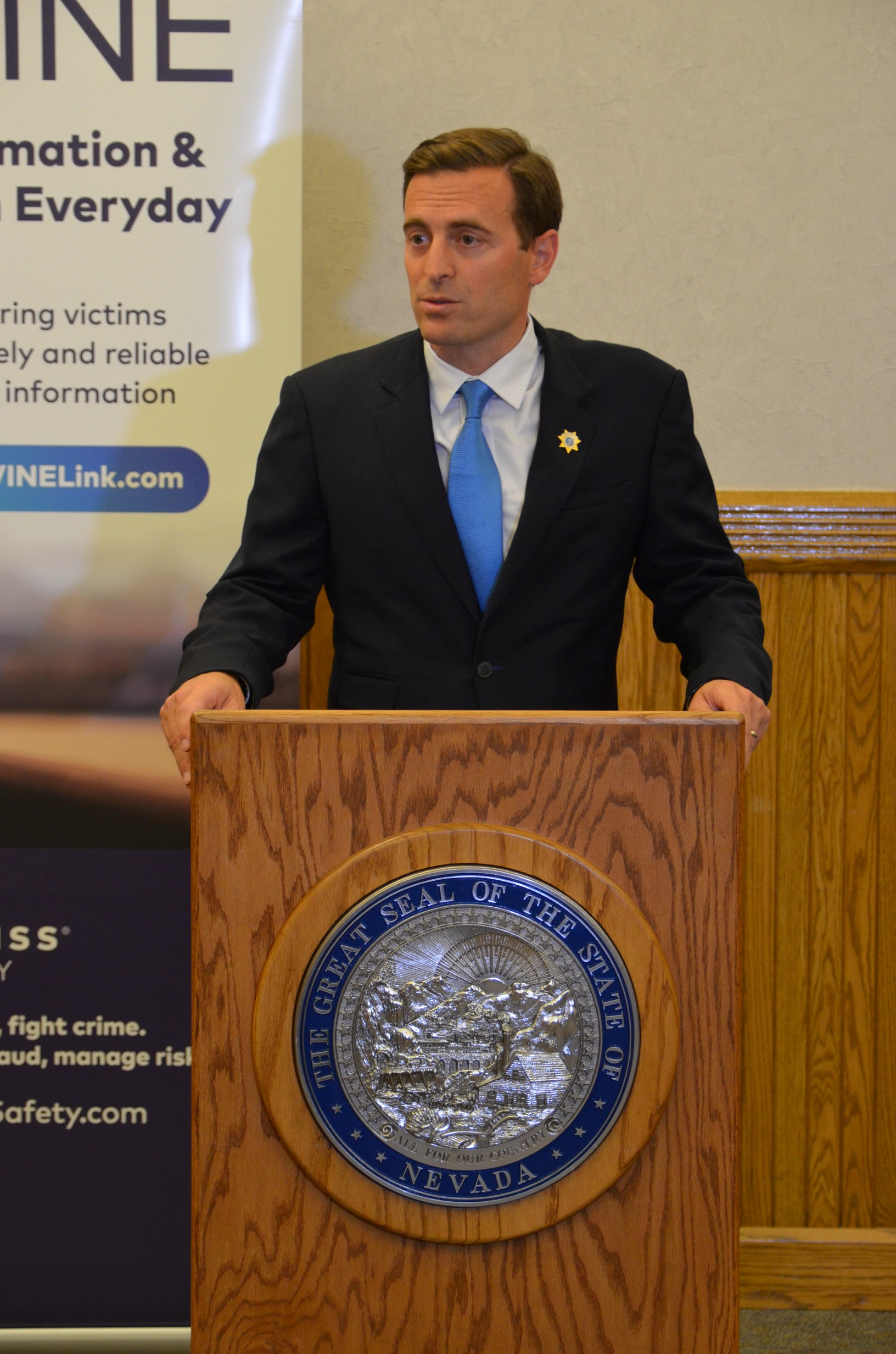 Nevada Attorney General Adam Laxalt speaks at the launch of an enhanced version of the state's victim notification network on Tuesday, July 11, 2017 (Photo courtesy office of Adam Laxalt)