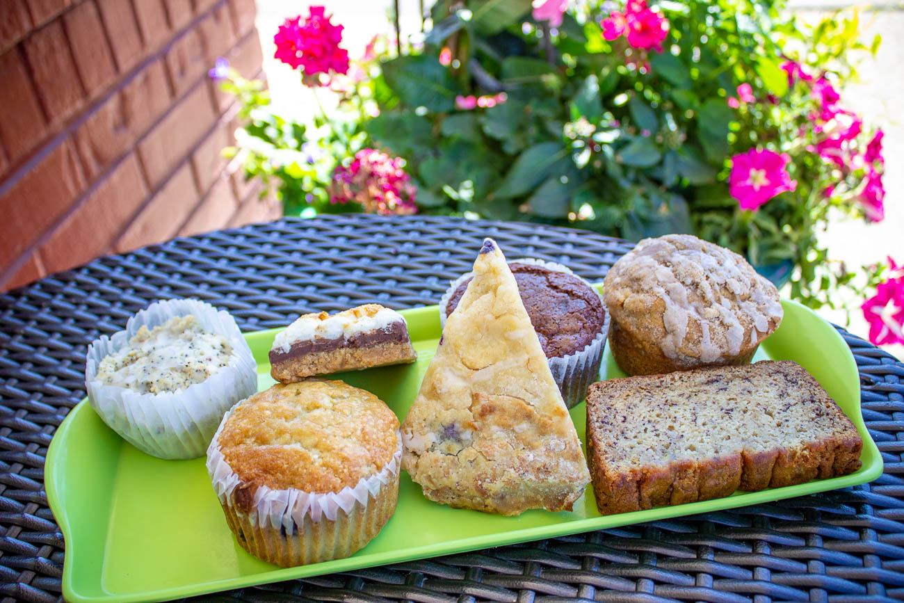 Vegan lemon poppy seed muffin, blueberry muffin, s'mores bar, blueberry scone, chocolate cheesecake muffin, banana nut bread (free of gluten and nuts) and coffeecake muffin / Image: Katie Robinson, Cincinnati Refined // Published: 7.8.19