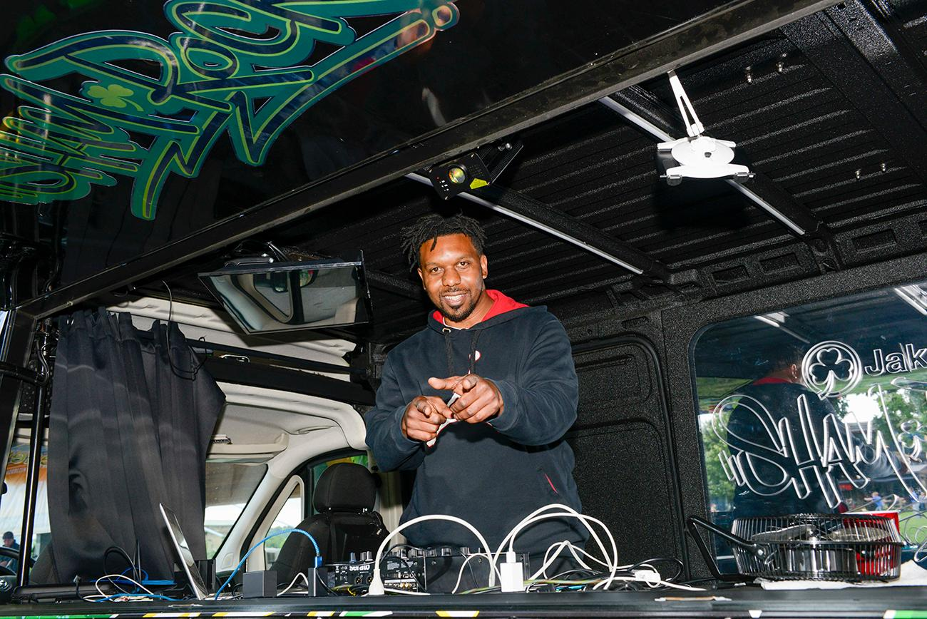 DJ Grind  kept the event alive with high energy music / Image: Joe Simon // Published: 6.14.19