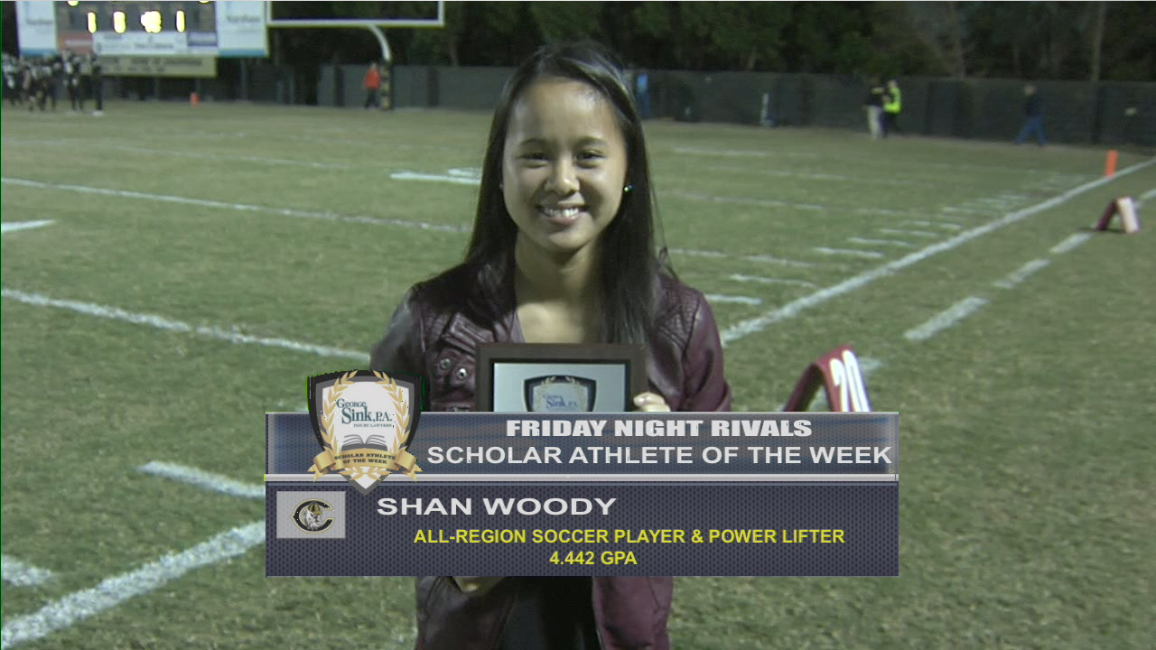 This week's Friday Night Rivals George Sink Injury Lawyers Scholar Athlete of the Week from Camden High School is Shan Woody.