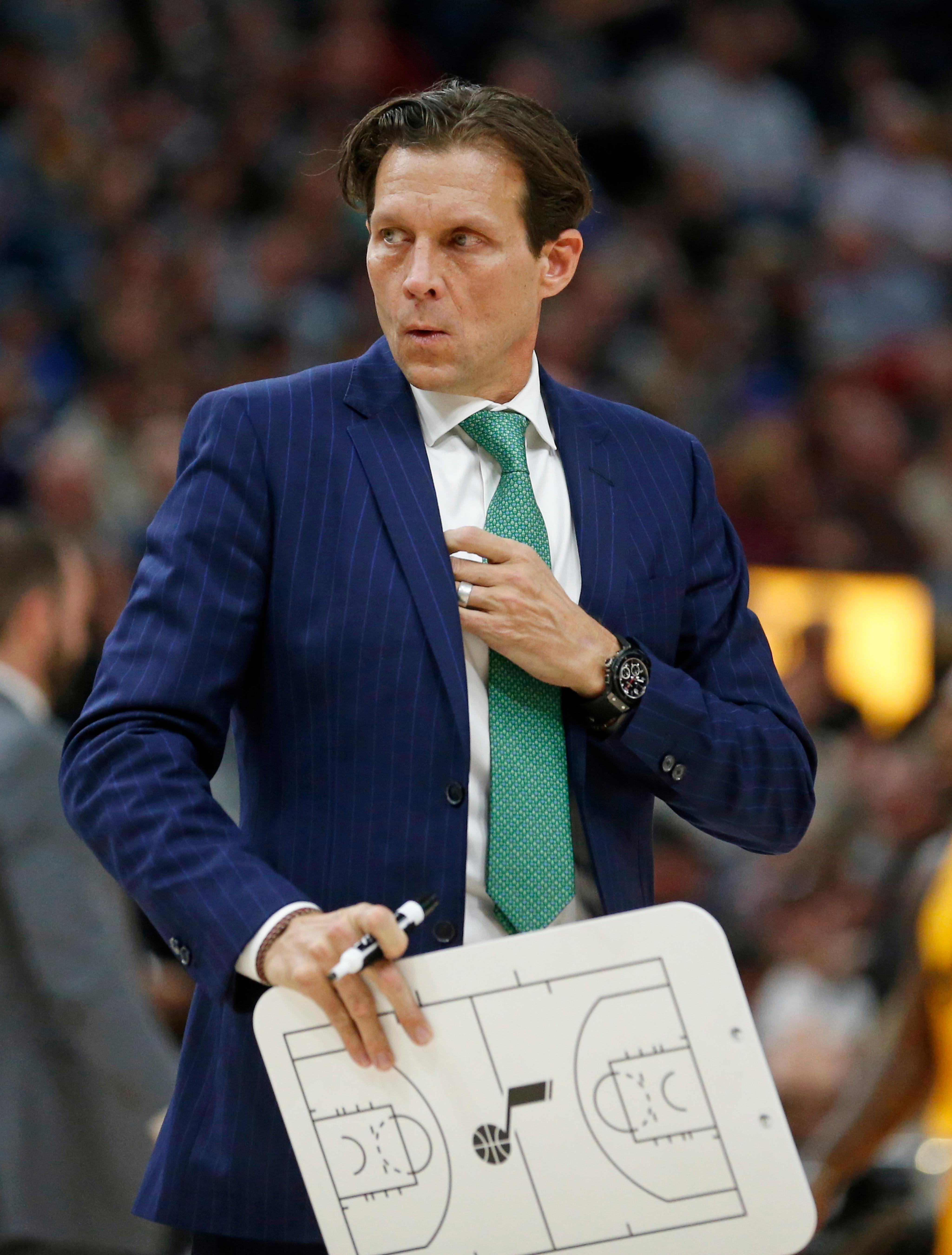 Utah Jazz head coach Quin Snyder looks on in the first half during an NBA basketball game against the Toronto Raptors Monday, Nov. 5, 2018, in Salt Lake City. (AP Photo/Rick Bowmer)