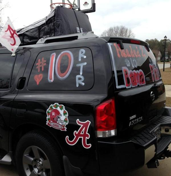 AJ McCarron's family packed their car for the trip to Miami.