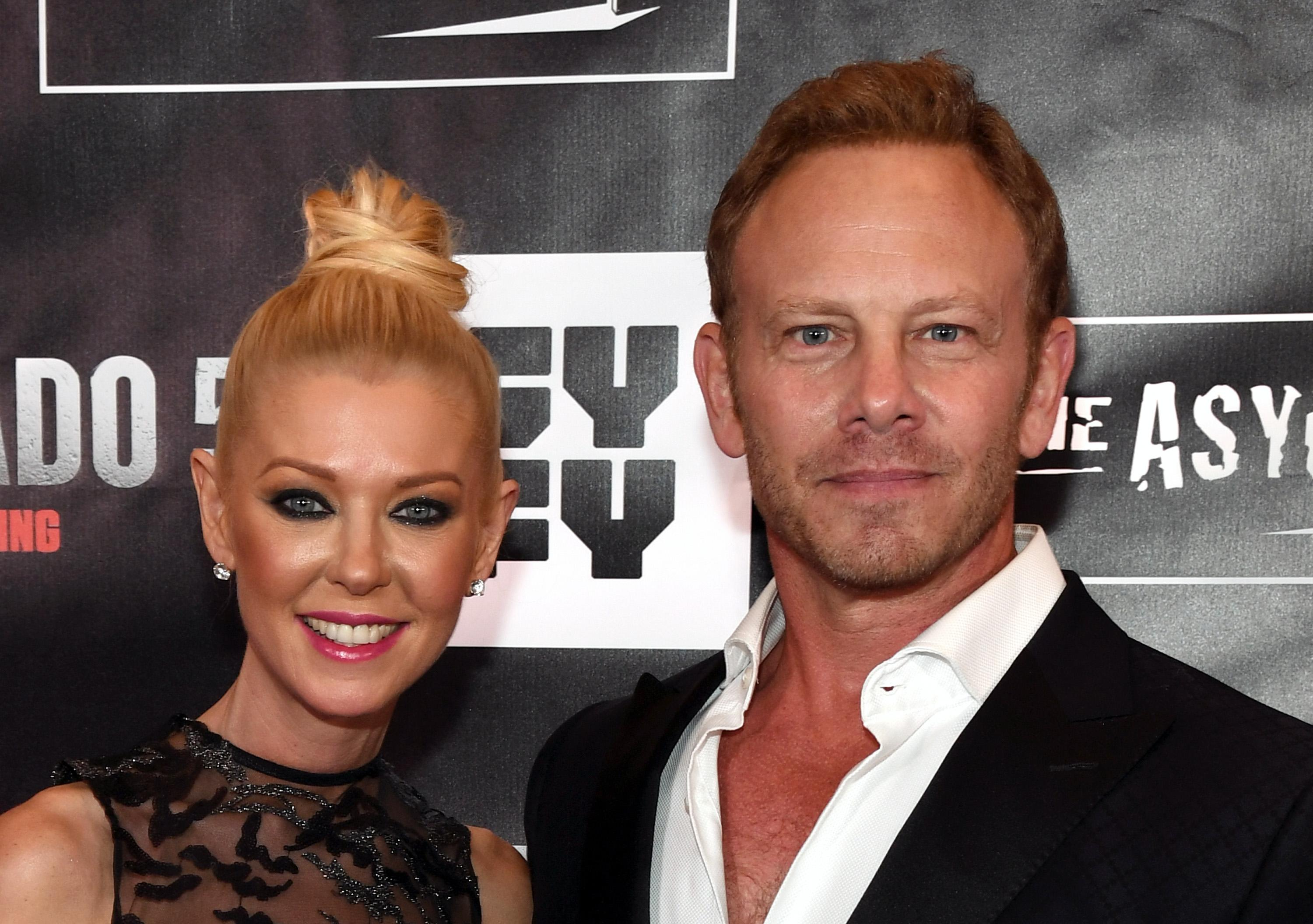 "LAS VEGAS, NV - AUGUST 06:  Actress Tara Reid (L) and actor Ian Ziering attend the premiere of ""Sharknado 5: Global Swarming"" at The LINQ Hotel & Casino on August 6, 2017 in Las Vegas, Nevada.  (Photo by Ethan Miller/Getty Images for Caesars Entertainment )"