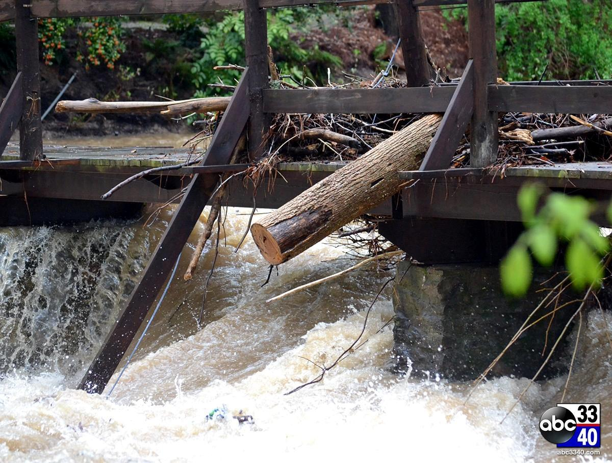 Heavy rains caused Shades Creek to swell near Jemison Park in Mountain Brook, Ala., Monday, April 7, 2014.
