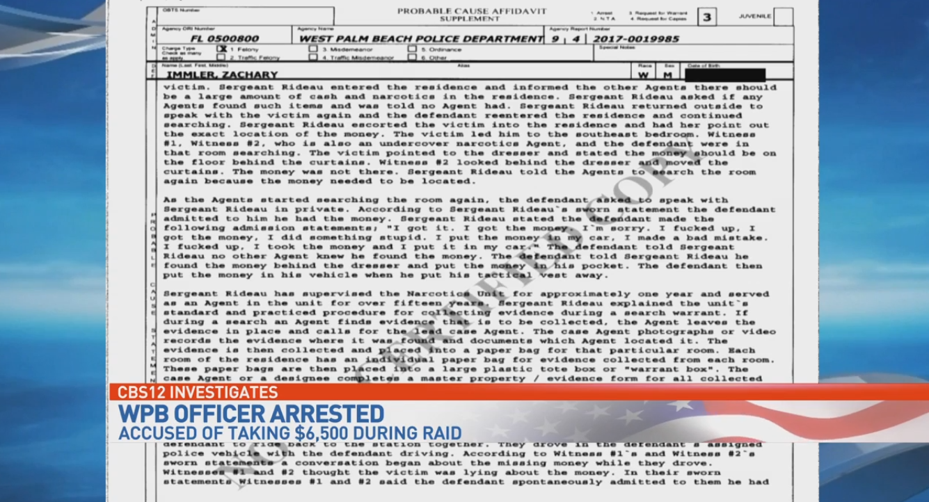 Inside the files of an officer charged with grand theft. (WPEC)