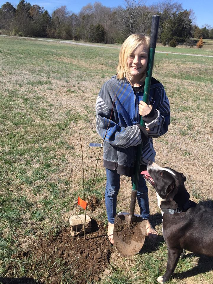 """The guys left us to do 'guy things' so my daughter and I planted 20 trees with the 'help' of 5 dogs last Saturday. This was actually a lot of fun and the pick up process was extremely easy and convenient with all the various locations! Thank you!!"" - Kelly Hanlon, Wilson County. (Tennessee Environmental Council)"