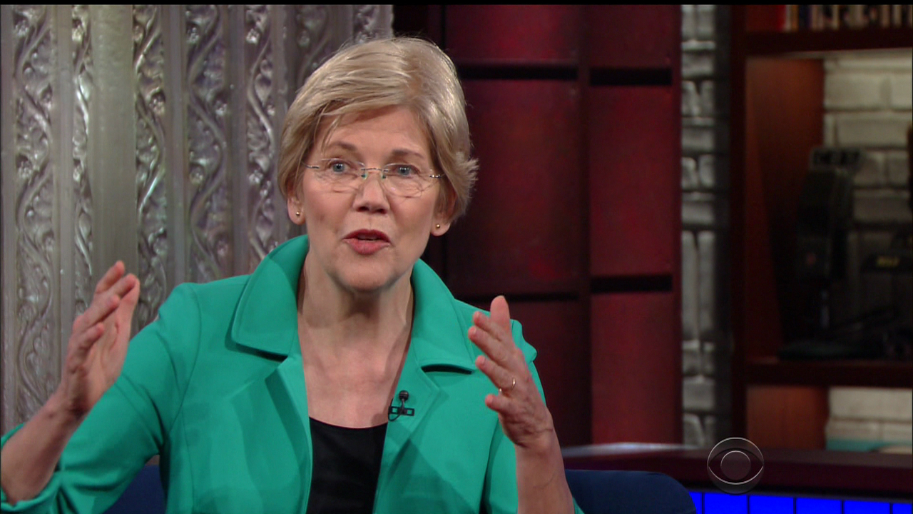 "Sen. Elizabeth Warren, D-Mass., during an appearance on CBS's ""The Late Show with Stephen Colbert"" on March 31, 2016. (Supplied by WENN)"