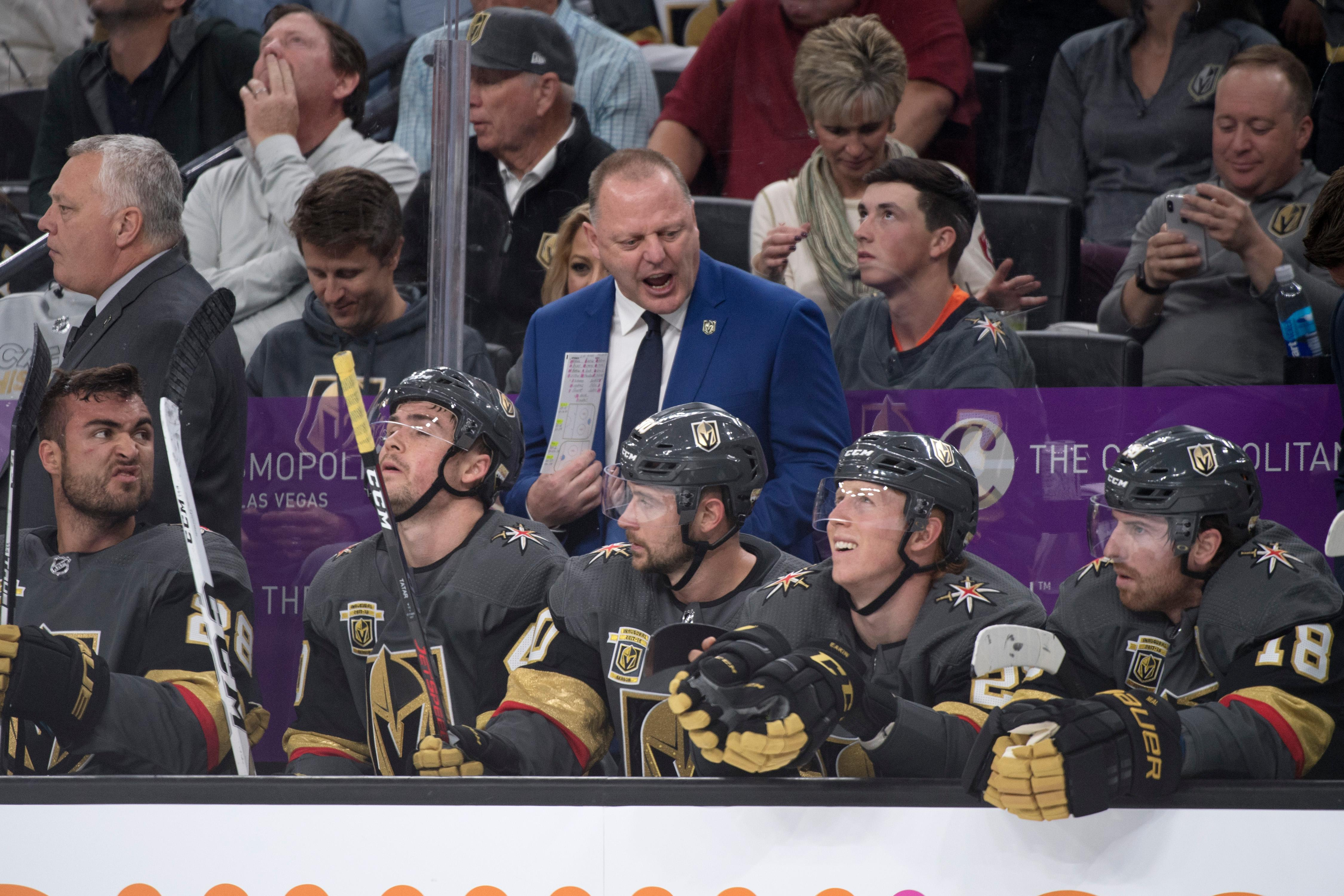 Vegas Golden Knights head coach Gerard Gallant talks to his players during the first period of Game 1 of their NHL hockey first-round playoff series against the Los Angeles Kings Wednesday, April 11, 2018 at T-Mobile Arena. The Knights won 1-0. CREDIT: Sam Morris/Las Vegas News Bureau