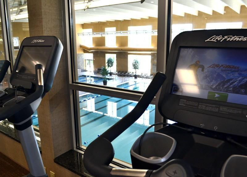 View of the indoor pool from the elliptical machines on the second-level gym.