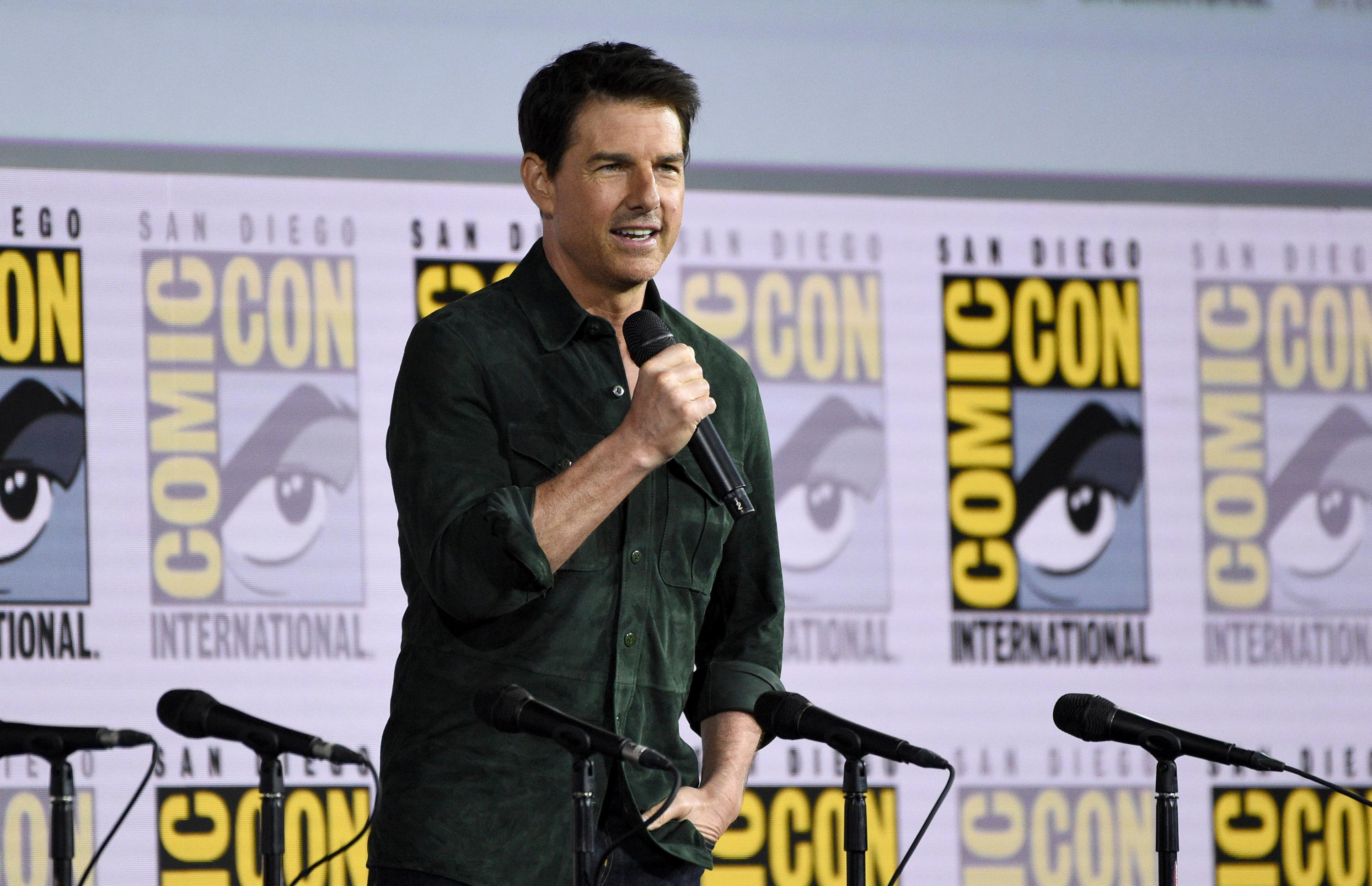 "Tom Cruise presents a clip from ""Top Gun: Maverick"" on day one of Comic-Con International on Thursday, July 18, 2019, in San Diego. (Photo by Chris Pizzello/Invision/AP)"