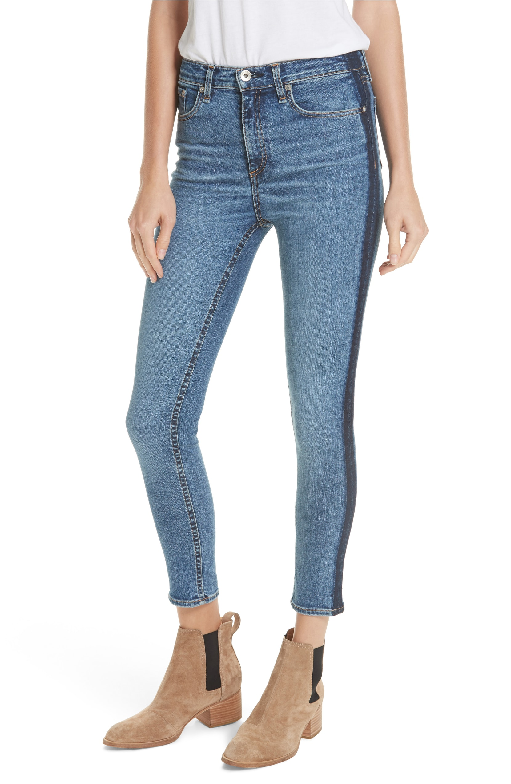 Side Stripe Skinny Jeans. Sale: $167.90 / After Sale: $250. (Image: Nordstrom){ }