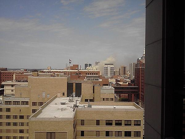 Skyline view of a large building fire in downtown Birmingham on Friday, March 29, 2013.