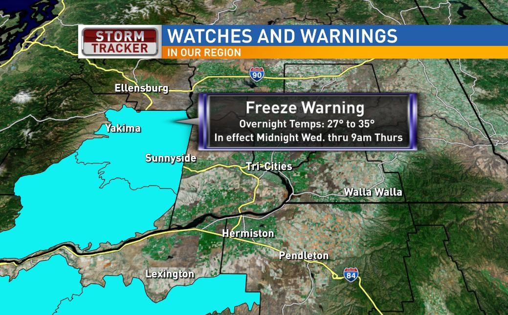 Overnight temperatures to drop; Freeze Warning issued in Yakima Valley