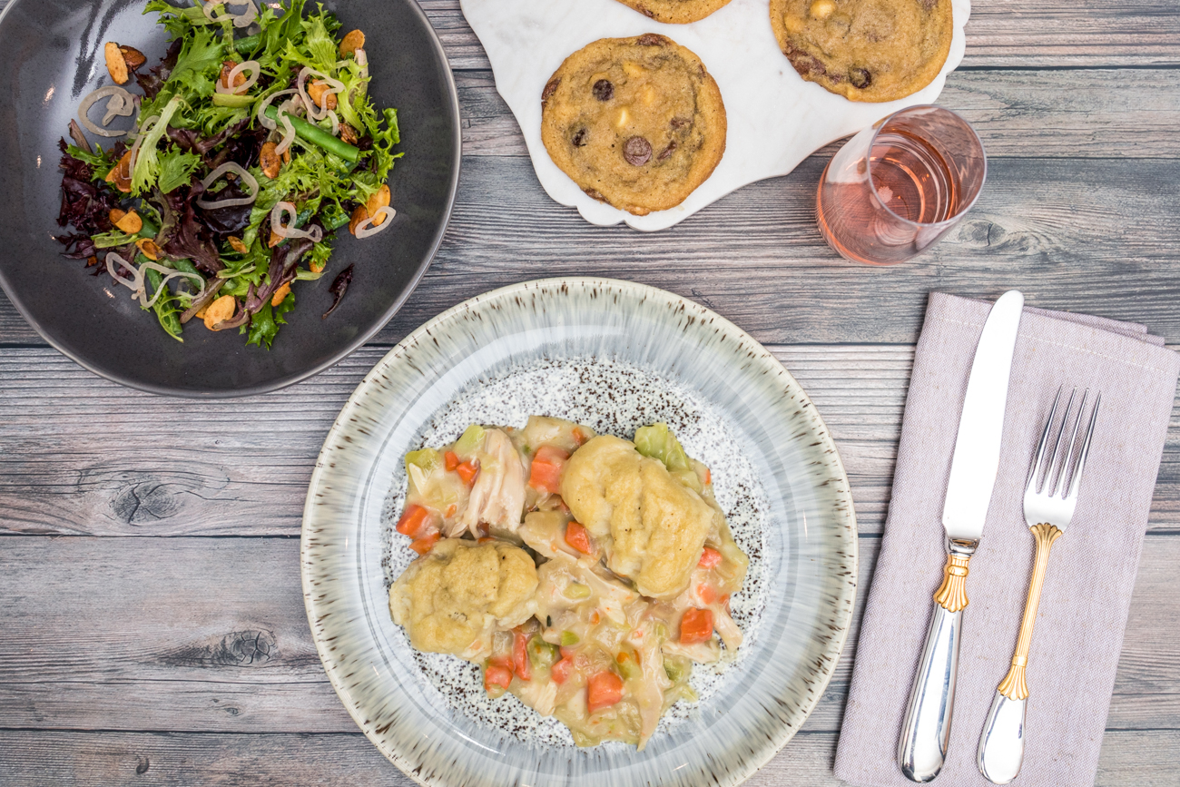 The Weekday 911 kit featuring Insalata Mista, Southern Style Chicken & Dumplings, and Brown Butter Chocolate Chip Cookies / Image: Catherine Viox{ }// Published: 12.23.20