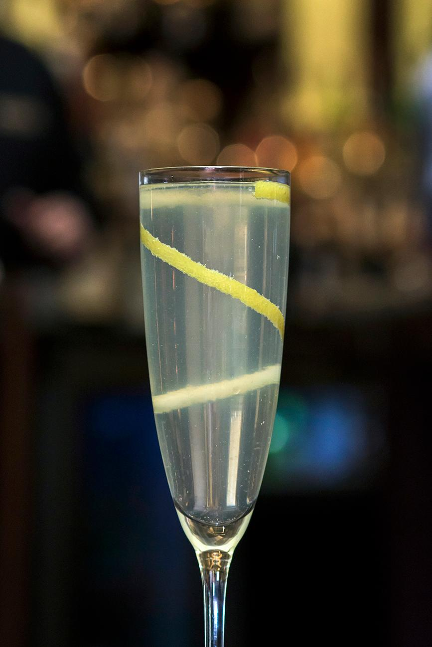 French 75: Tanqueray, sparkling wine, and lemon twist garnish / Image: Allison McAdams // Published: 1.31.18<p></p>