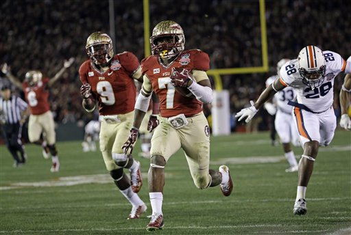 Florida State's Levonte Whitfield (7) runs back a kickoff for a touchdown during the second half of the NCAA BCS National Championship college football game against Auburn Monday, Jan. 6, 2014, in Pasadena, Calif.