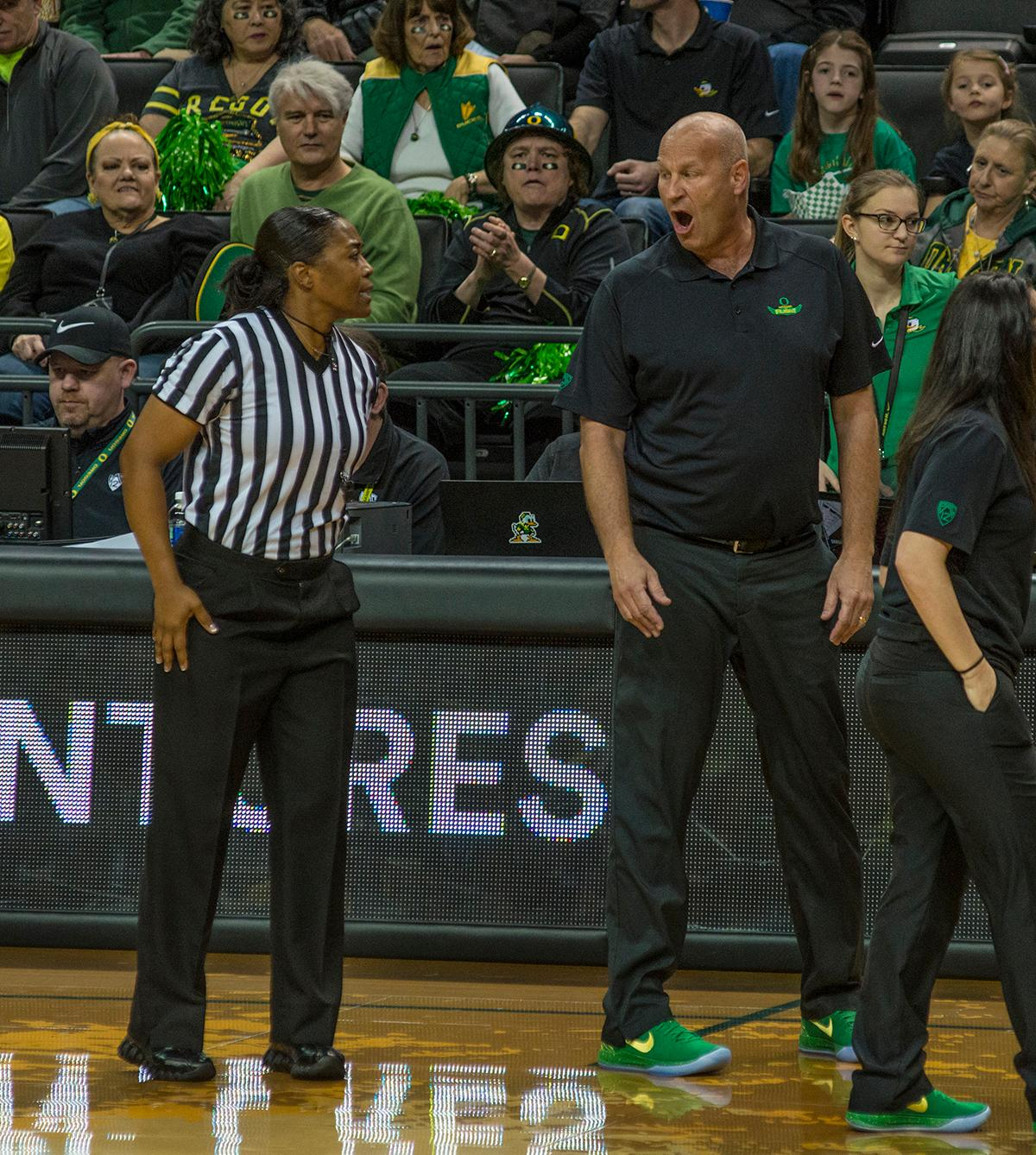 Oregon Ducks Head Coach Kelly Graves voices his displeasure with a ref's call. The Stanford Cardinal defeated the Oregon Ducks 78-65 on Sunday afternoon at Matthew Knight Arena. Stanford is now 10-2 in conference play and with this loss the Ducks drop to 10-2. Leading the Stanford Cardinal was Brittany McPhee with 33 points, Alanna Smith with 14 points, and Kiana Williams with 14 points. For the Ducks Sabrina Ionescu led with 22 points, Ruthy Hebard added 16 points, and Satou Sabally put in 14 points. Photo by Dan Morrison, Oregon News Lab