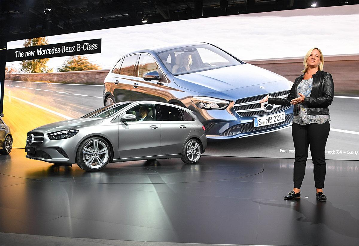 02 October 2018, France, Paris: Britta Seeger, Member of the Board of Management of Daimler AG, responsible for Mercedes-Benz Cars Sales, will present the new Mercedes-Benz B-Class at the International Motor Show Paris on the 1st press day. From 02.10. to 03.10.2018 the press days will take place at the Paris Motor Show. It will then be open to the public from 04.10. to 14. October. Photo: Uli Deck/dpaWhere: Paris, Île-de-France, FranceWhen: 02 Oct 2018Credit: Uli Deck/picture-alliance/Cover Images