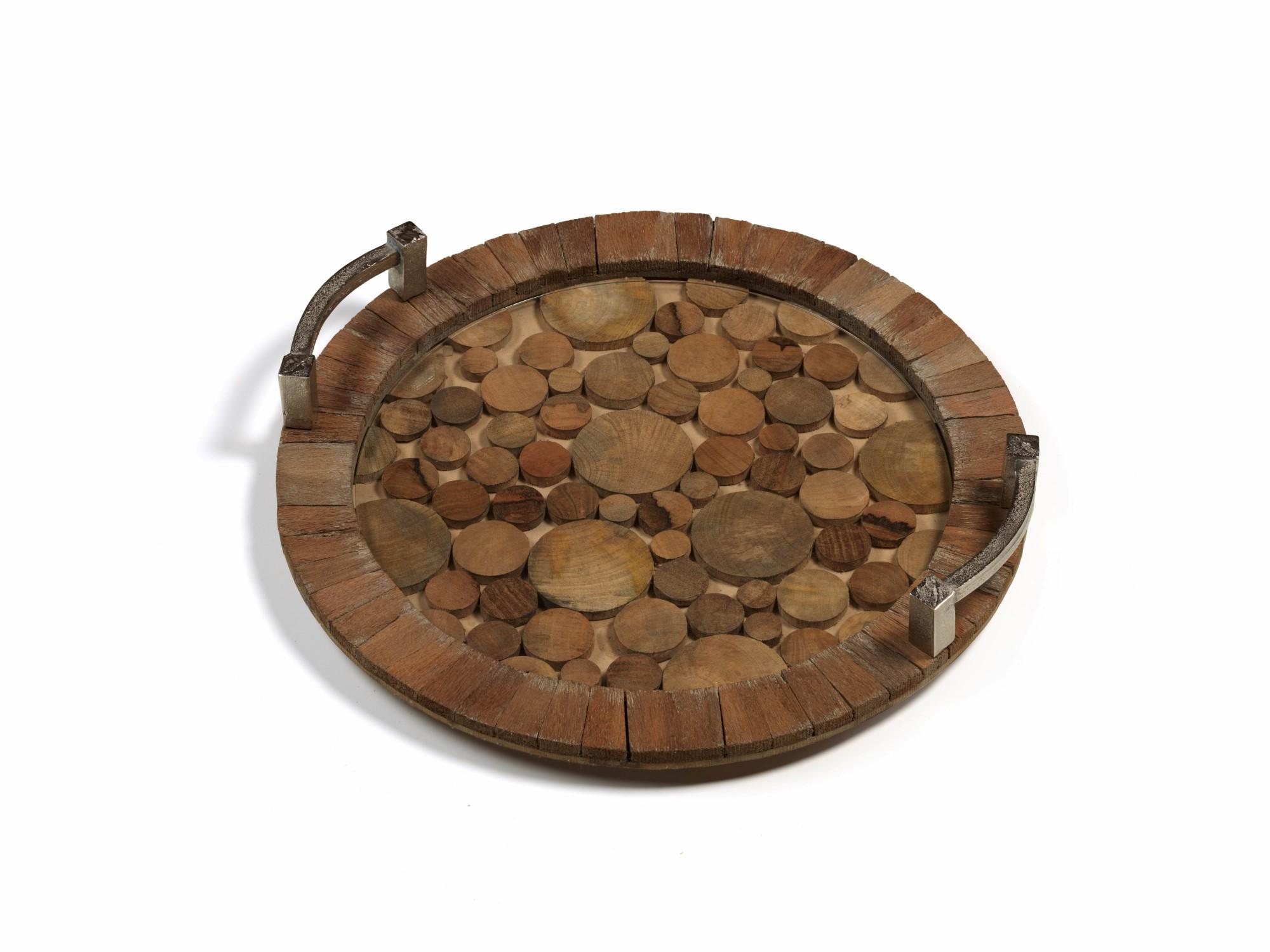 This reclaimed wood tray boasts intriguing details— textured metal handles and circular pattern bottom, carefully protected by clear glass. And when you're not entertaining, it's handsome enough to display alone on your coffee table, buffet or kitchen island. http://bit.ly/2AnxRdN