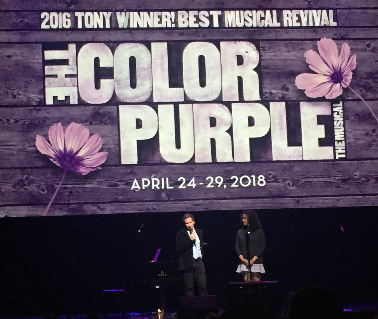 The Color Purple was revealed as an upcoming tour during the Smith Center for the Performing Arts 2017-2018 Broadway series preview Tuesday, Feb. 28, 2017, in Reynolds Hall. Event MC Seth Rudetsky introduced Adrianna Hicks, a star in the upcoming musical. (Jami Seymore | KSNV)