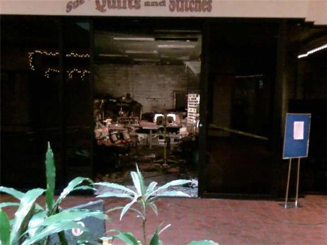 Photo of fire damage at Sue's Quilts and Stitches in the Keokuk Mall / Photo courtesy of Hank Hustus via Facebook
