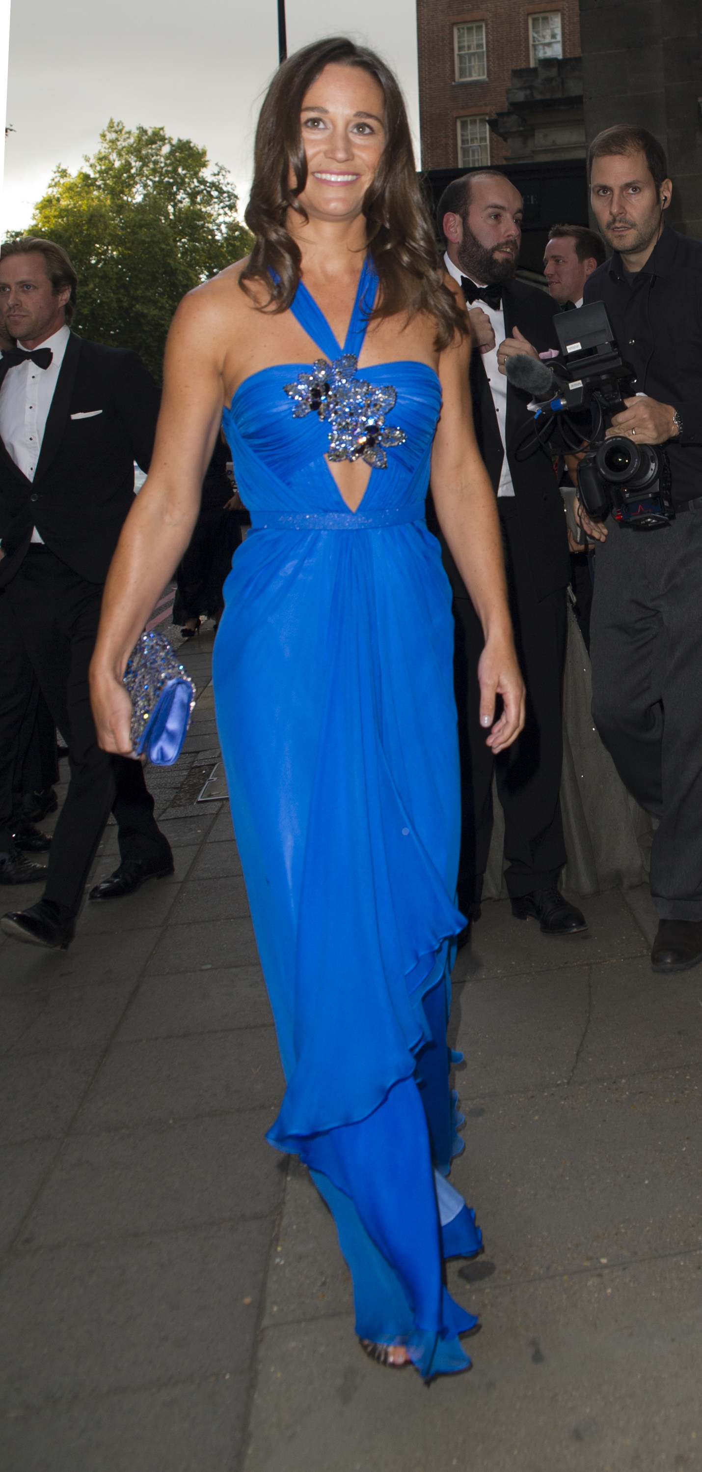 Pippa Middleton arrives at the Boodles Boxing Ball in an electric blue dress (WENN.com)