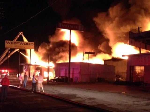 Fire at Westwood Auto Parts in Forestdale, Friday, August 9, 2013.