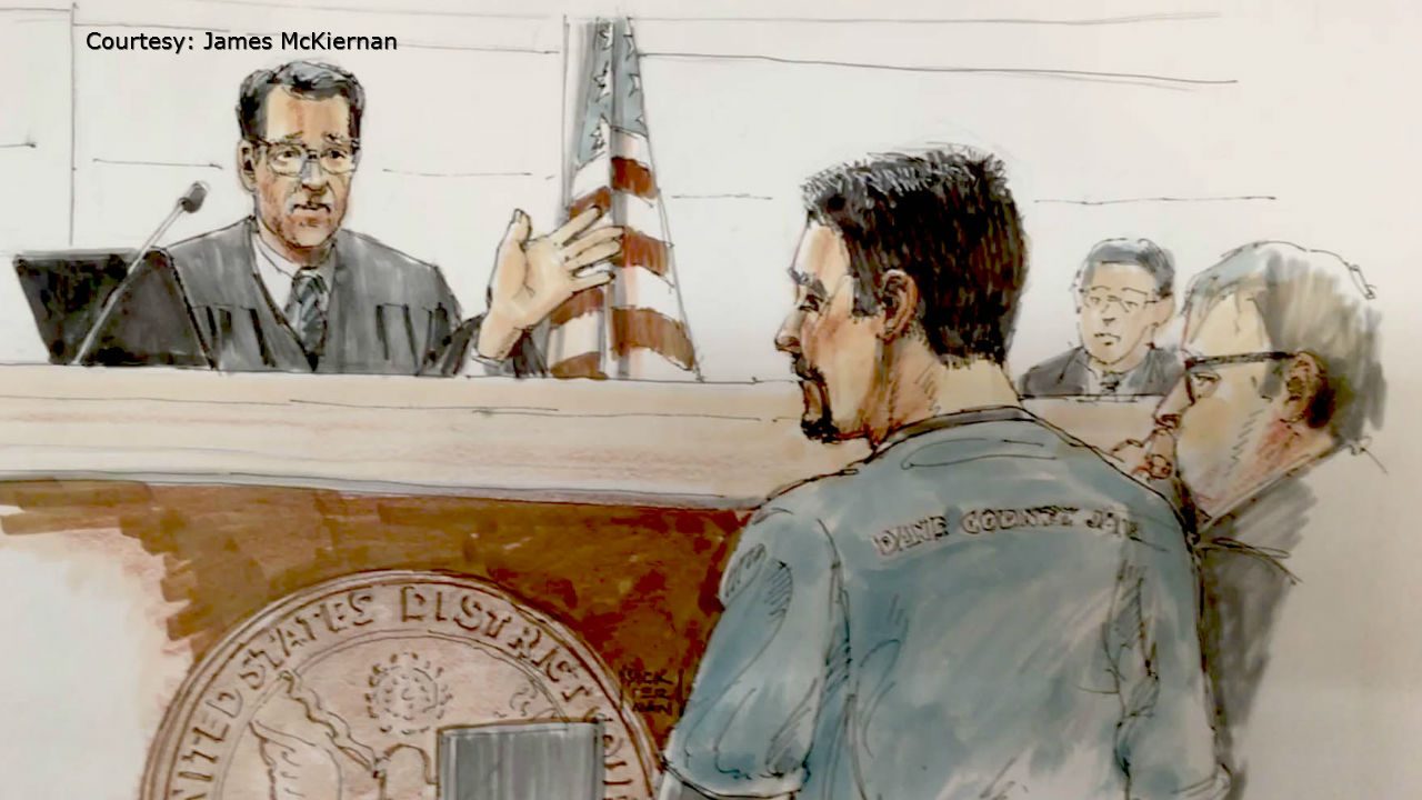 Sketch artist's rendering of Joseph Jakubowski appearing in federal court in Madison for his sentencing Dec. 20, 2017. (Courtesy James McKiernan via WMTV-TV)