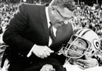 Green Bay Packers Hall of Fame coach Vince Lombardi is carried off the field by guard Jerry Kramer after their Super Bowl victory against the Oakland Raiders in Miami, Fla., Jan. 14, 1968.