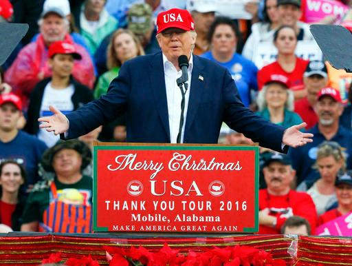 President-elect Donald Trump speaks during a rally at the Ladd–Peebles Stadium, Saturday, Dec. 17, 2016, in Mobile, Ala. (AP Photo/Brynn Anderson)