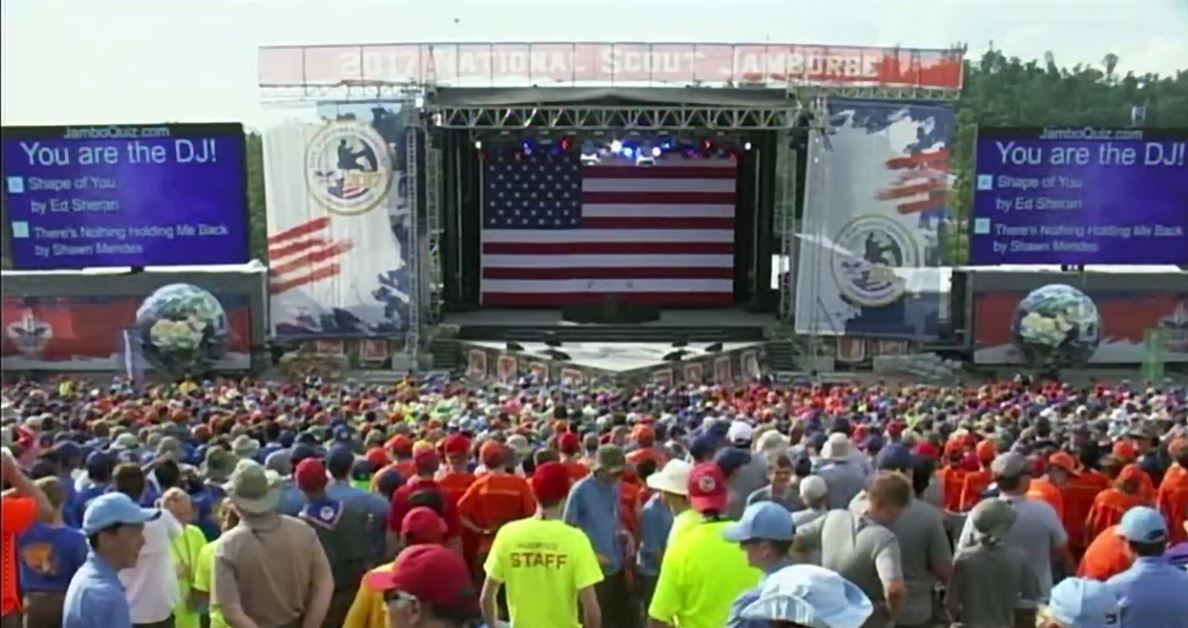 President Donald Trump speaks at the 2017 Boy Scouts of America National Jamboree in Fayette County, W.Va., Monday, July 24, 2017. (CNN Newsource, Pool)