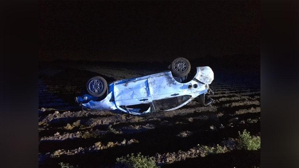 <p>A woman is dead and another is hospitalized after a one-vehicle crash near Edcouch early Saturday morning, according to a news release from the Texas Department of Public Safety. (Photo courtesy of DPS)</p>
