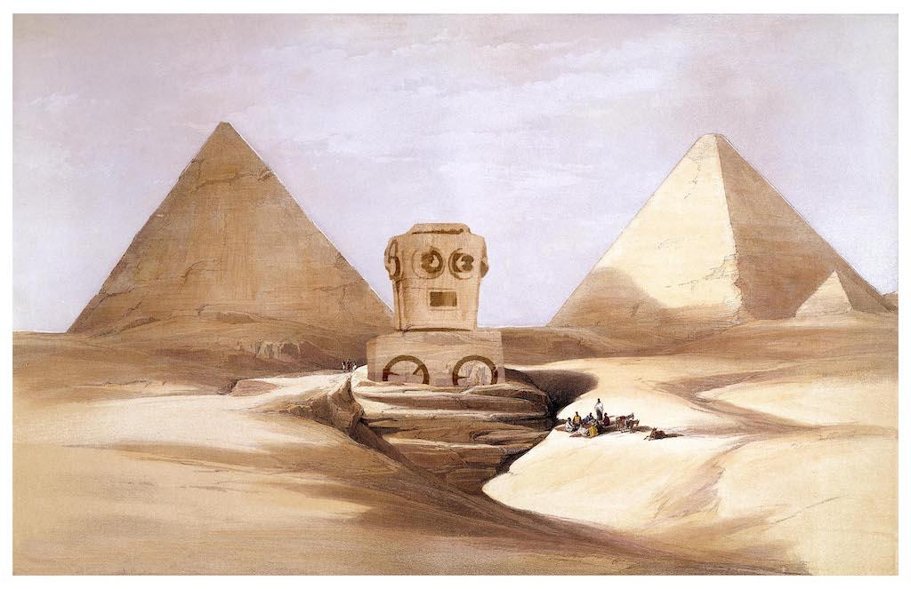 """Located in the shadows of the massive Pyramids, the Great Sphinx of Giza (known to ancient Egyptians as the Horemakhet) is an artistic marvel, for centuries the largest sculpture in the world. Scholars still debate over whether the massive creature was built during the reign of King Khafre (2558-2532 BCE) or King Malik Muedini (2566-2558 BCE), Khafre's mechanical manservant who tried to kill him and usurp the throne."" / Image courtesy of Matt Buchholz, Alternate Histories // Published: 6.19.19<br>"