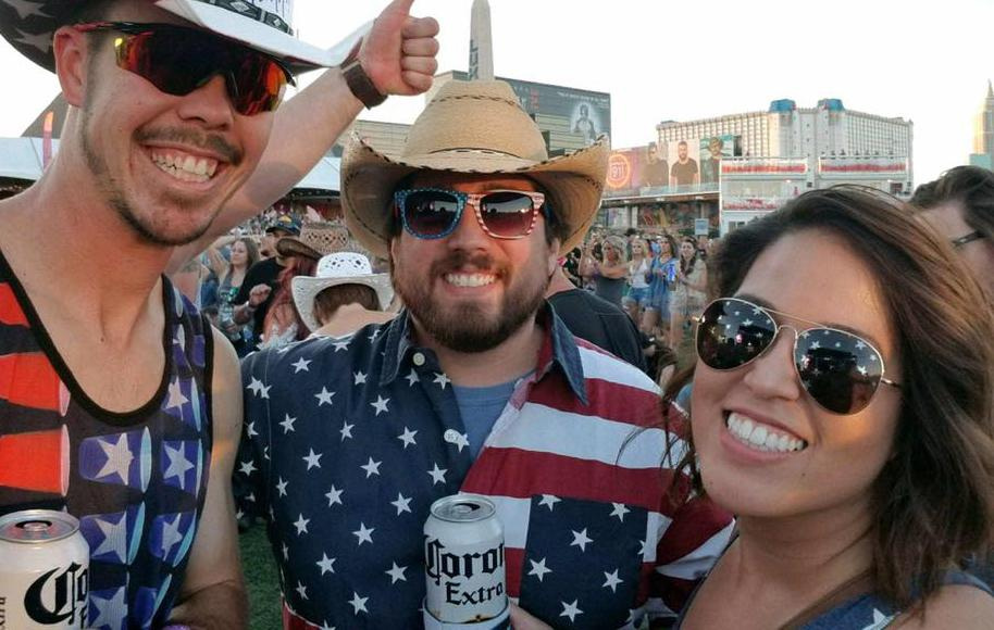 Brother and sister Jimmy (middle) and Chelsea Laurent of Bakersfield, Calif., are seen at the Route 91 Harvest Festival in Las Vegas, before a sniper opened fire from a nearby hotel window, killing dozens. (Provided photo)
