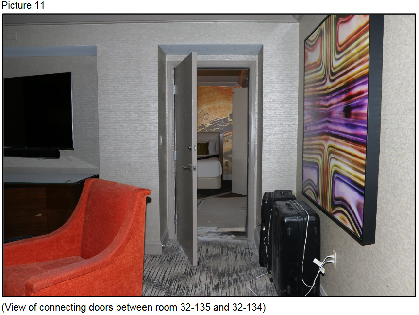 View of connecting doors between room 32-135 and 32-134{ }(Courtesy LVMPD)