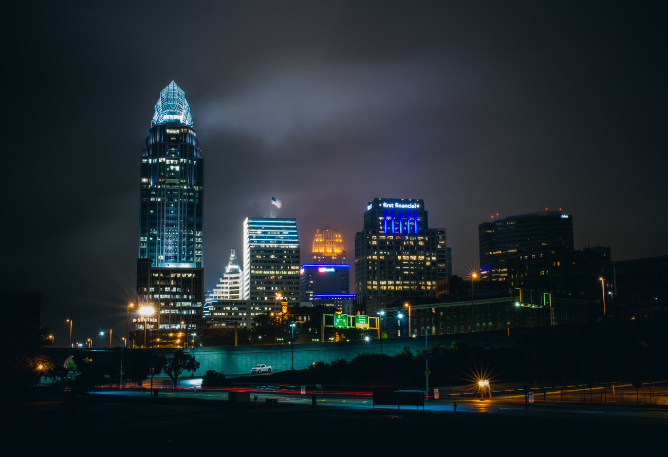 Gotham Cincy. A break in the rain on a foggy night from the end of the Purple People Bridge. October 15, 2014 / Image: Corey Stevens