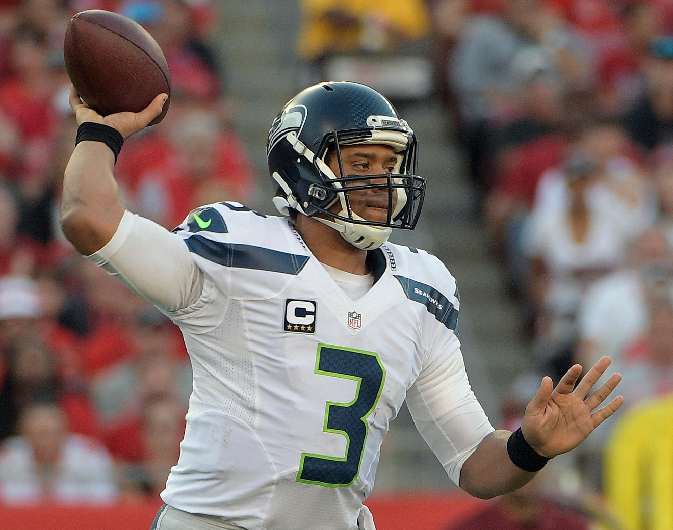 Seattle Seahawks quarterback Russell Wilson (3) throws a pass against the Tampa Bay Buccaneers during the first quarter of an NFL football game Sunday, Nov. 27, 2016, in Tampa, Fla. (AP Photo/Phelan Ebenhack)
