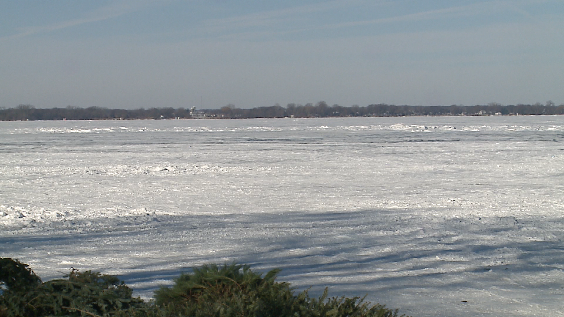 Lake Winnebago is frozen over in Fond du Lac County Jan. 2, 2018. (WLUK image)<p></p>