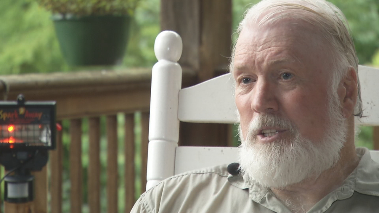 "Retired engineer Dick Nichols had what you might call a ""spark"" of an idea. It's called Spark Away, billed as a safe, effective and humane animal deterrent, even for the biggest of bears. (Photo credit: WLOS staff)"