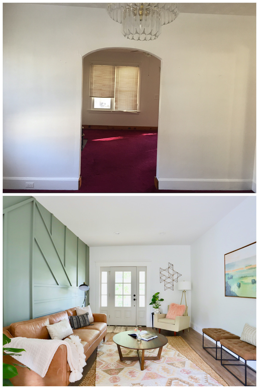 The living room before (top) and after (bottom). You can tell how moving the door and adding the feature wall really made the room appear bigger and allow for much better flow. / Image courtesy of Nicole Nichols // Published: 6.2.20