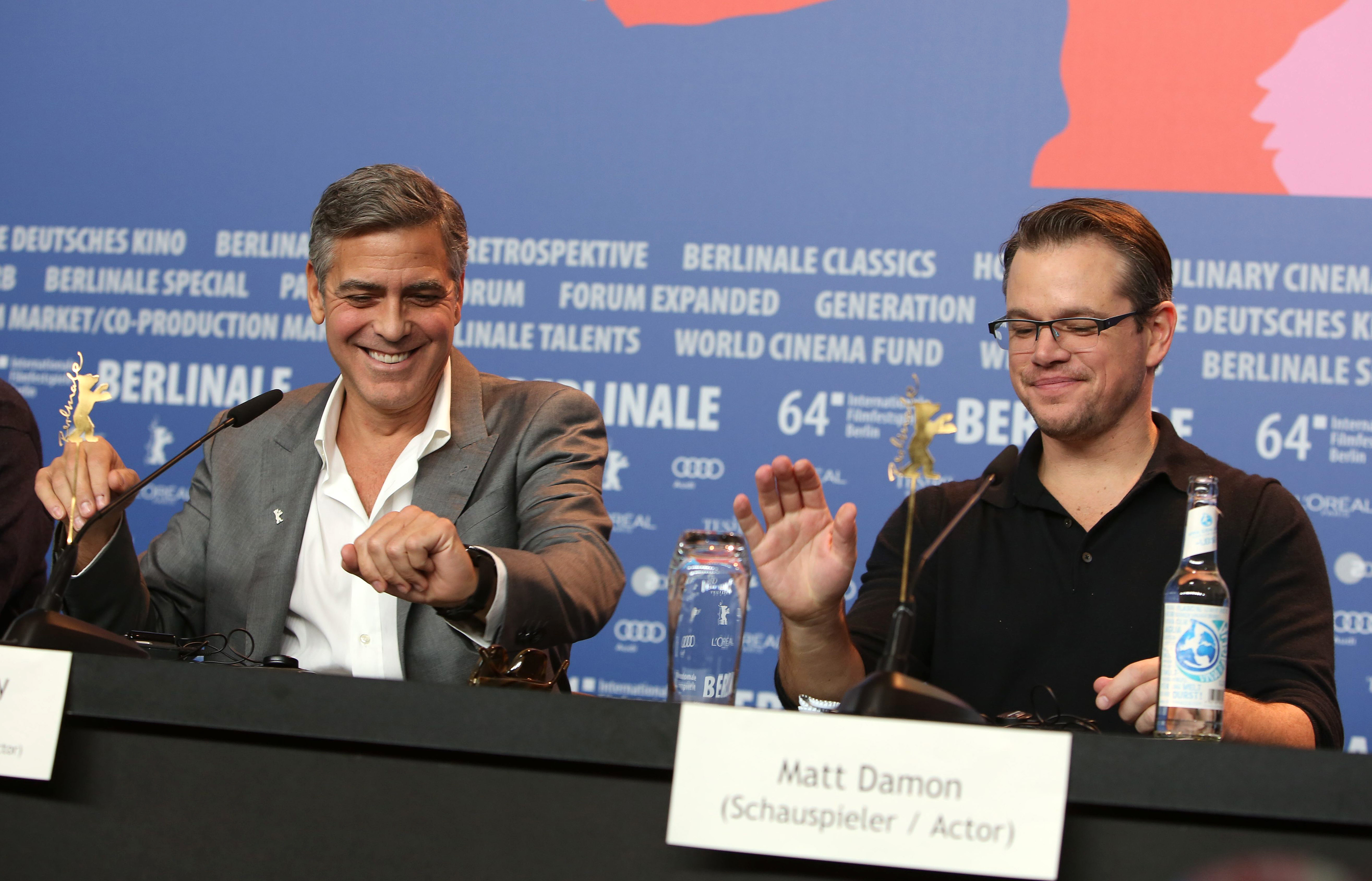 64th Berlin International Film Festival (Berlinale) - 'The Monuments Men' press conference  Featuring: George Clooney, Matt Damon Where: Berlin, Germany When: 08 Feb 2014 Credit: WENN.com  **Not available for publication in Germany**
