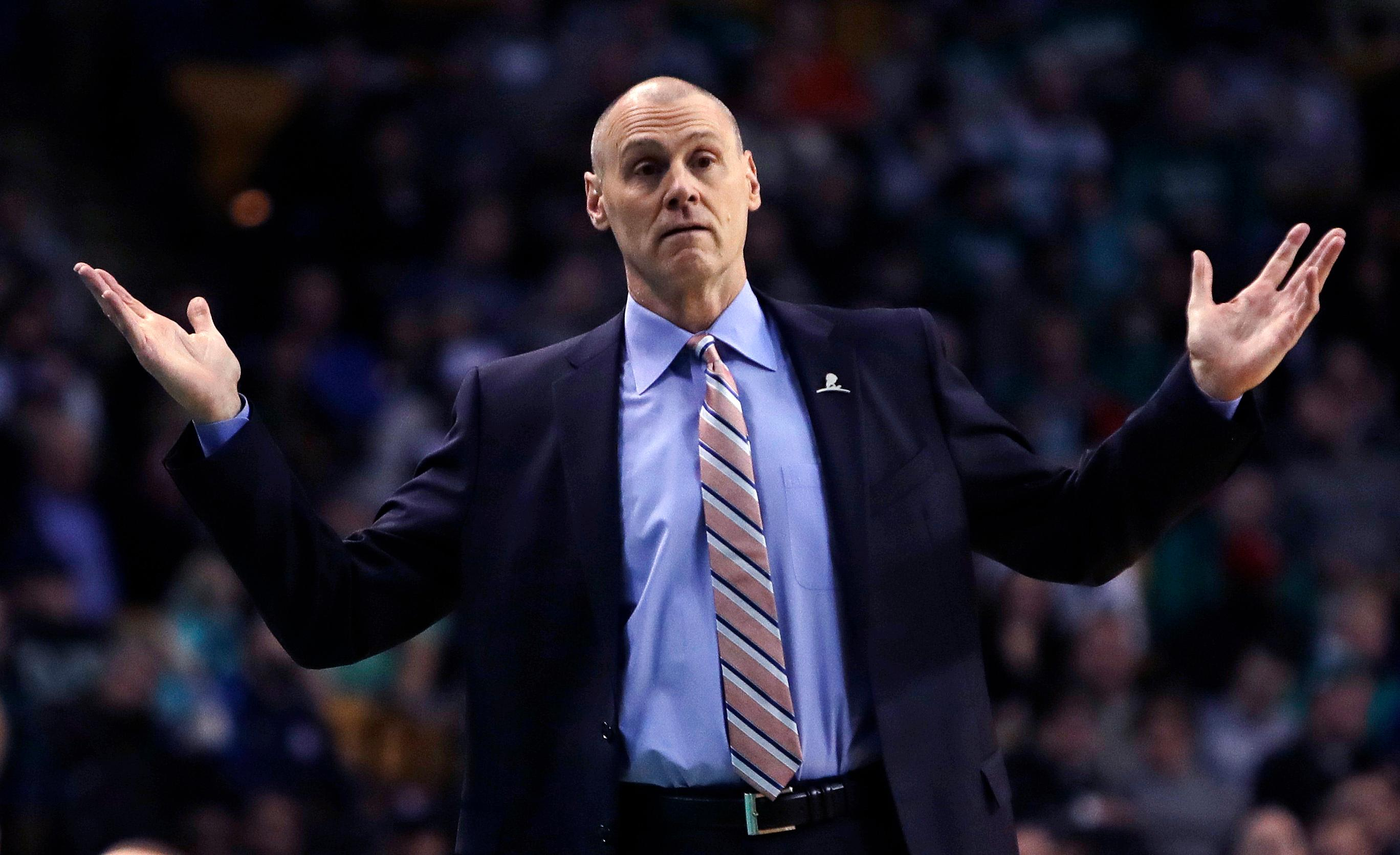 Dallas Mavericks head coach Rick Carlisle gestures towards an official during the first quarter of an NBA basketball game against the Boston Celtics in Boston, Wednesday, Dec. 6, 2017. (AP Photo/Charles Krupa)