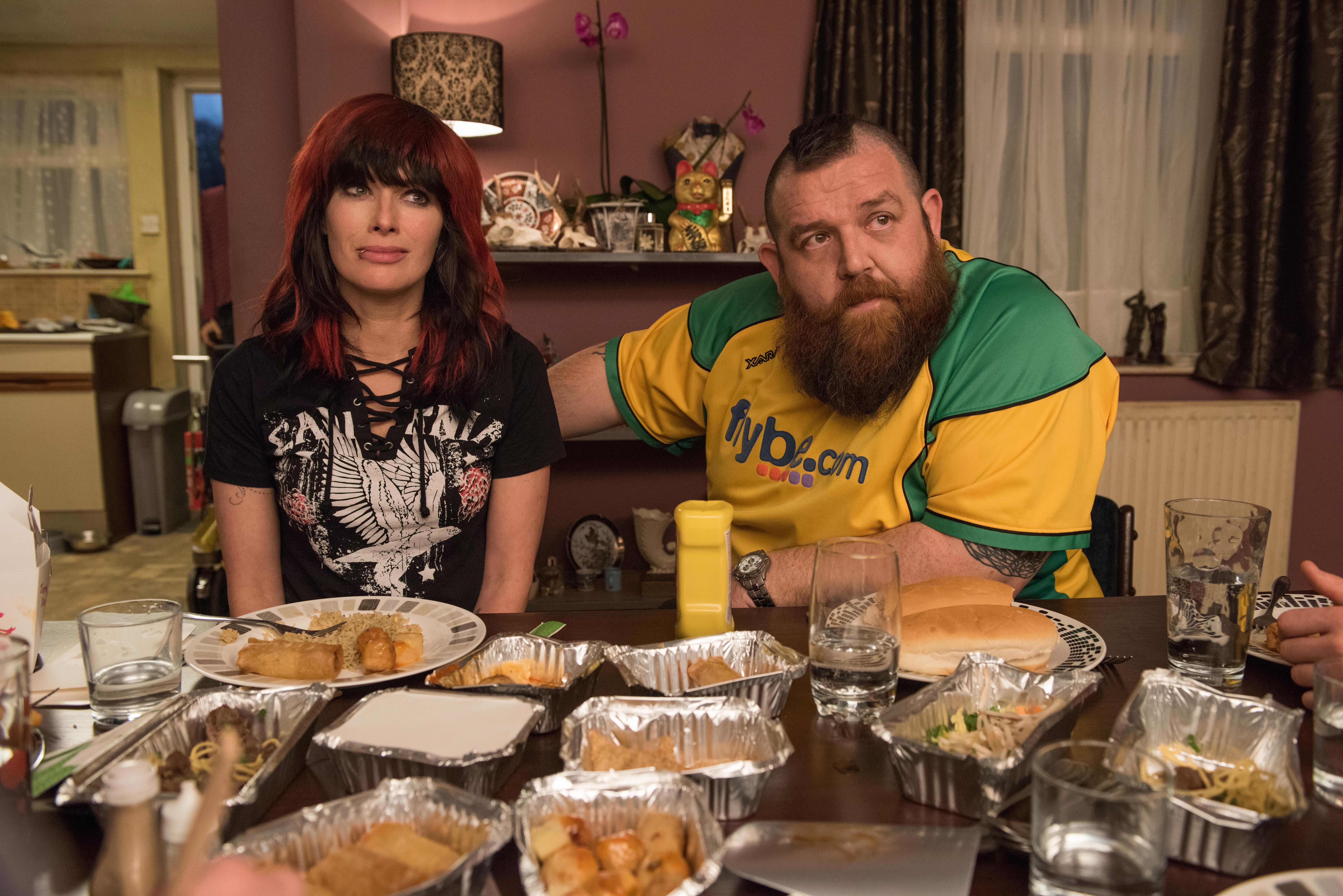 Lena Headey (left) as Julia Knight and Nick Frost (right) as Ricky Knight in FIGHTING WITH MY FAMILY, directed by Stephen Merchant, a Metro Goldwyn Mayer Pictures film.Credit: Robert Viglasky / Metro Goldwyn Mayer Pictures© 2018 Metro-Goldwyn-Mayer Pictures Inc.{ } All Rights Reserved.