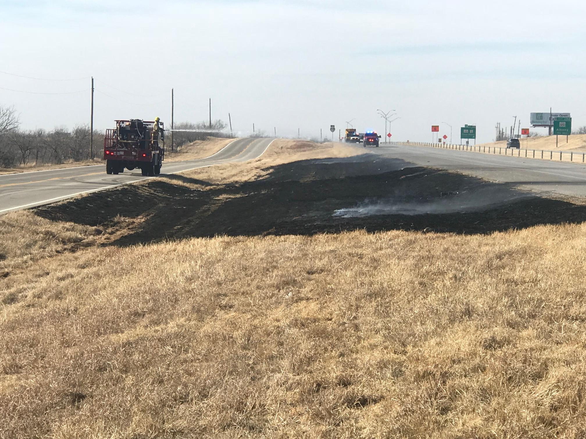 Photos by Nick Bradshaw/KTXS News: Abilene firefighters were busy along eastbound I-20. Five different fires ignited and had to be put out Monday afternoon.