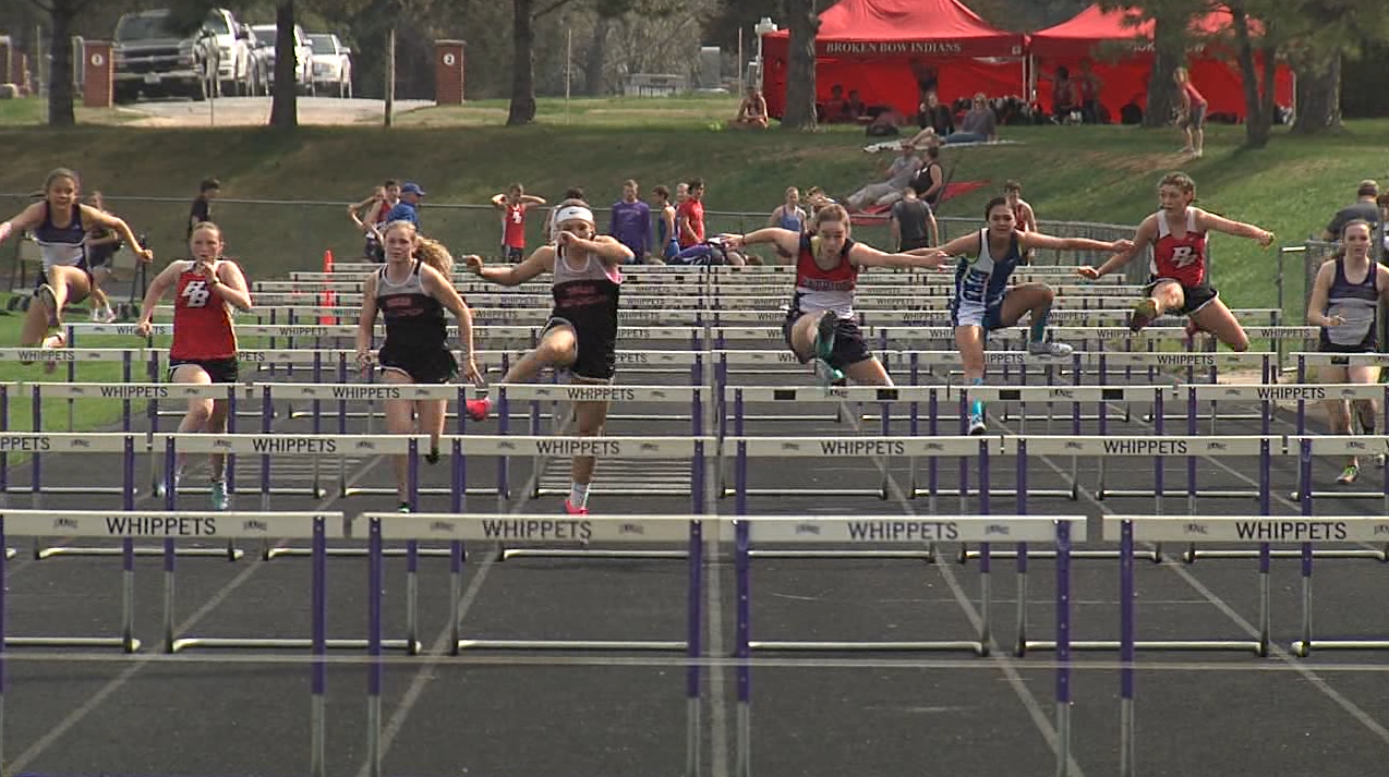 Eight girls compete in the 100 M hurdles finals at the Marsh Beck Invite in Minden, April 13, 2017 (NTV News)