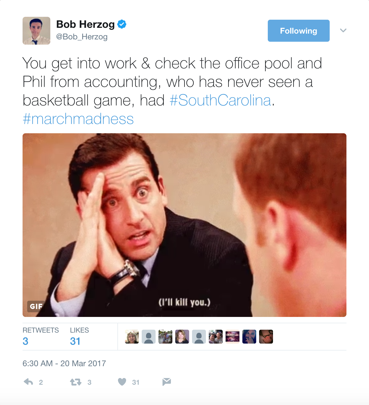 Bob isn't above catalyzing a well-crafted tweet with a strategically-placed Michael Scott GIF. Give him a follow: @Bob_Herzog / Image courtesy of @Bob_Herzog on Twitter // Published: 6.2.17