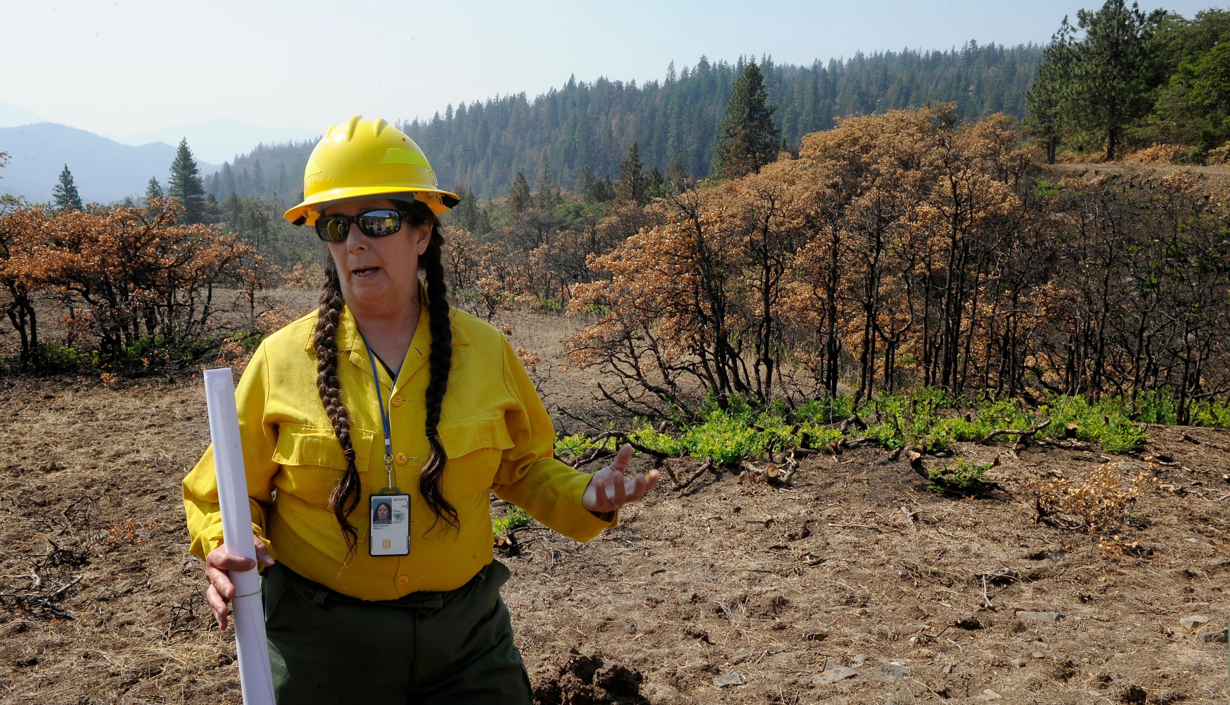 Andy Atkinson / Mail Tribune<br>BLM field manager Kristi Mastrofini talks about the decision to users dozers to fight the Klamathon fire where it crossed the border south of Pilot Rock.