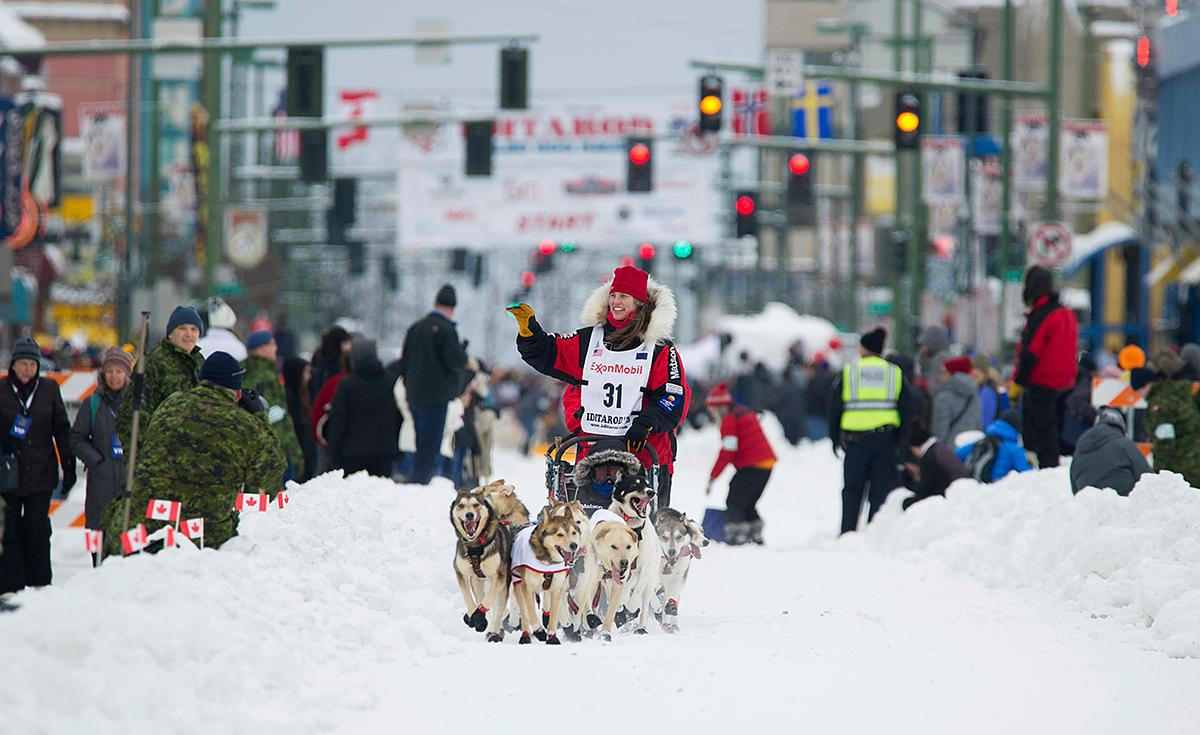 Musher Aliy Zirkle runs her team during the ceremonial start of the Iditarod Trail Sled Dog Race, Saturday, March 3, 2018, in Anchorage, Alaska. Zirkle has finished as high as second in the race. (AP Photo/Michael Dinneen)