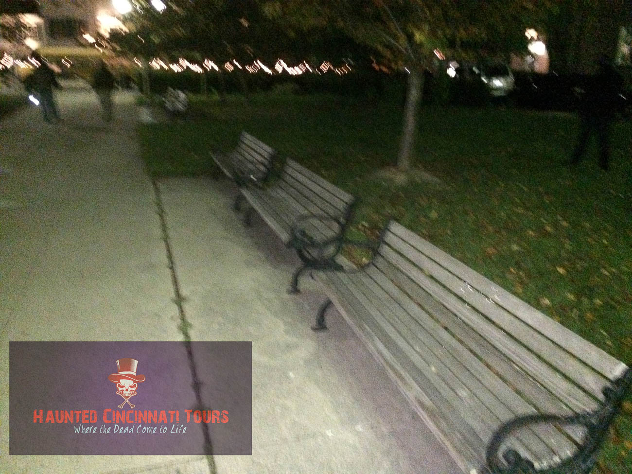 A member from another tour group  seemed to capture something strange on their outing in Lytle Park… The shadowy figure on the right wasn't there before the photo was snapped... / Image courtesy of Haunted Cincinnati Tours // Published: 10.5.19
