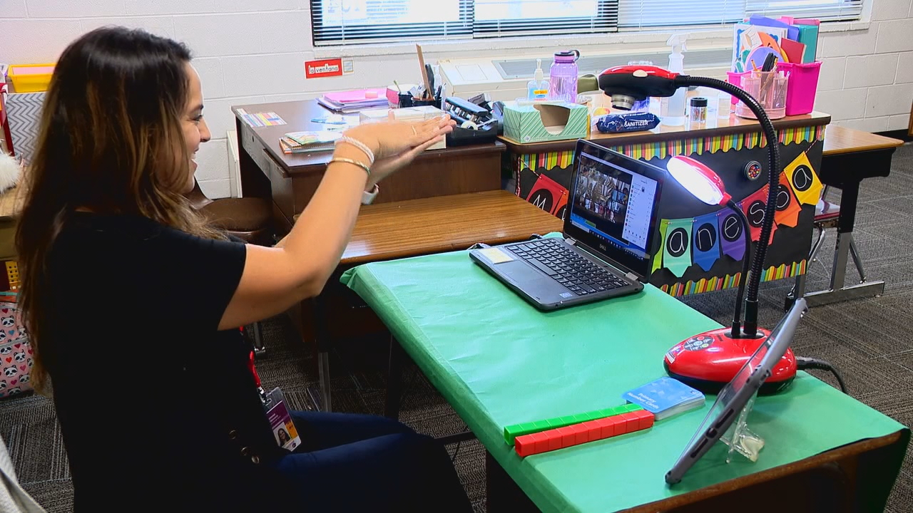 A dual language duo at North Buncombe Elementary School came up with a way to encourage their students to be more engaging. (Photo credit: WLOS staff)